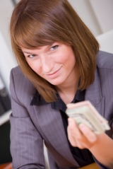 woman with stack money